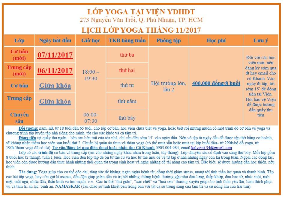 Lớp Yoga tháng 11 2017